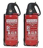 2X 2kg Autofeuerlöscher Qualitäts-Pulverlöscher Feuerlöscher, LKW PKW KFZ DIN EN 3 Manometer Halterung ABC 4LE (Ohne Prüfnachweis u. Jahresmarke)