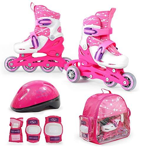 SMJ Kinder Mädchen Set 2in1 Inliner Rollschuhe VERSTELLBAR Inline Skates + Schonerset + Helm + Tasche (30-33)