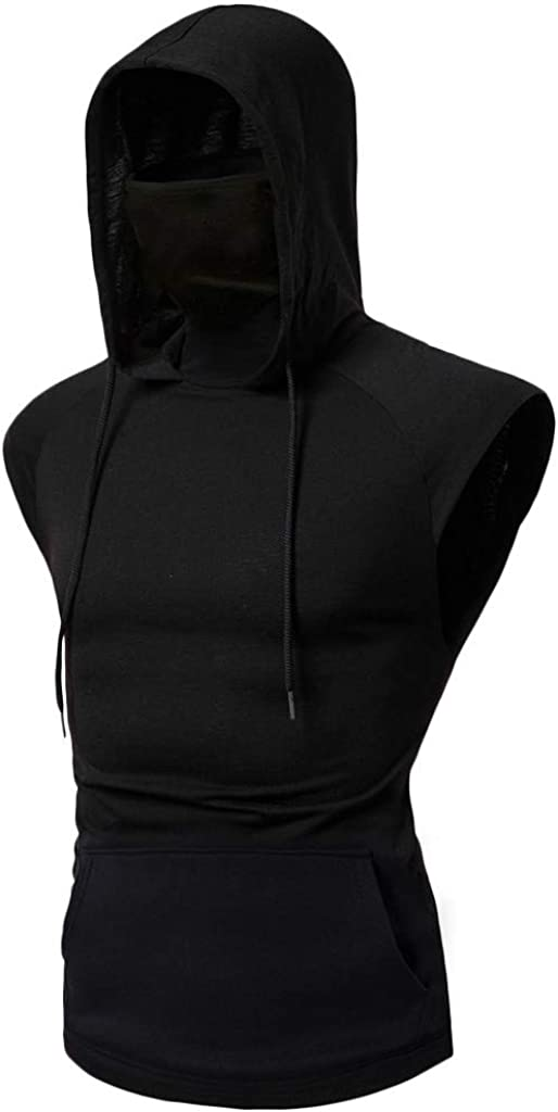 Sleeveless Hoodies for Long Beach Mall Men with New York Mall Casual Solid Face Cover Summer
