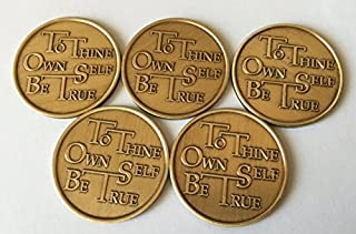 Bulk Lot 5 To Thine Own Self Be True Serenity Prayer AA Alcoholics Anonymous Medallions Chips Bronze Medallion Chip Set