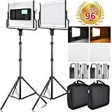 FOSITAN LED Video Light with 79 inches Stand LCD Display Bi-Color 3960 Lux SMD...