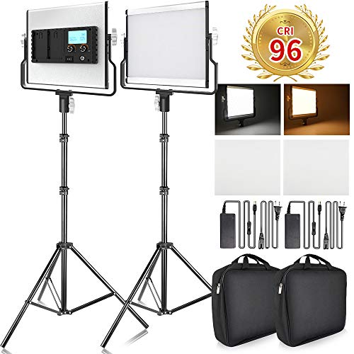 FOSITAN LED Video Light with 79 inches Stand LCD Display Bi-Color 3960 Lux SMD LED CRI 96+ U-Bracket Metal Shell Video Lighting Kit for YouTube Studio Photography Shooting