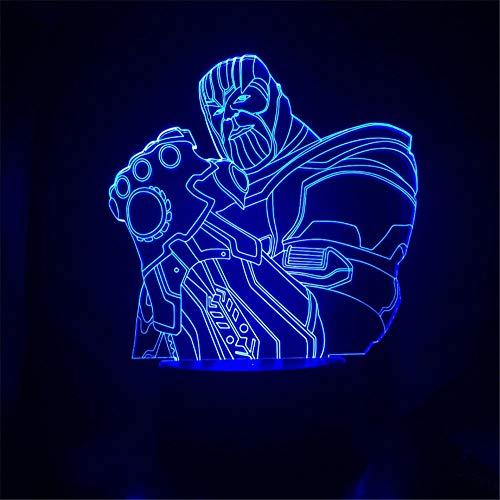 Carácter de dibujos animados sosteniendo Puño 3D Luz de la Noche Led de la Lámpara de la diapositiva de 7 Colores USB Botón Táctil de Navidad