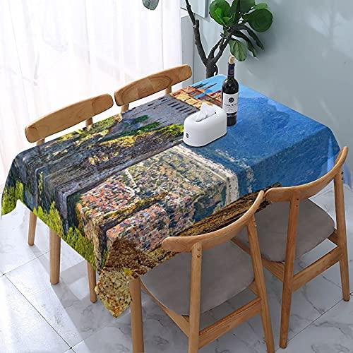Mantel rectangular The Meteora Monasteries Grecia Kalambaka a prueba de derrames, tela decorativa para banquete, fiesta, cocina, comedor, Navidad, vacaciones, boda, picnic, interior y exterior