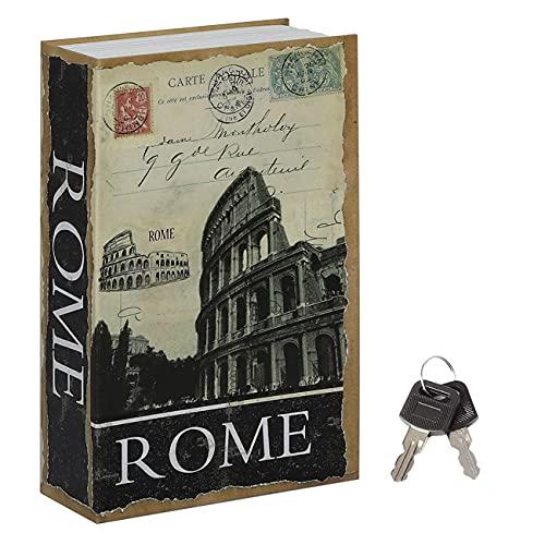 Jssmst Diversion Book Safe with Key Lock, Secrect Hidden Safe Lock Box Large Money Box High Capacity, 9.5 x 6.2 x 2.2 inches, SMBS019 (Large, ROME (Key Lock))