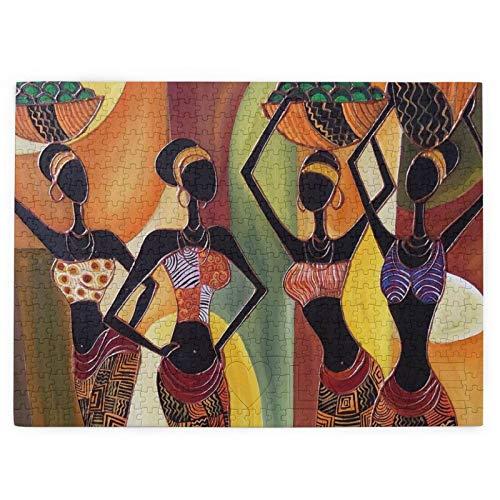 Puzzle de cuatro mujeres africanas de 520 piezas para regalo educativo, decoración del hogar, actividad, desgarrador de cerebro para adultos y adolescentes