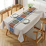 Nobray Oblong Vinyl Tablecloth, Waterproof Oil-Proof PVC Table Cloth, Stain-Resistant Wipeable...