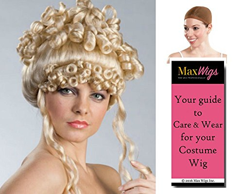 Christine French color BLONDE - Enigma Wigs Colonial Revolution Greek Goddess Curly Bundle w/Cap, MaxWigs Costume Wig Care Guide