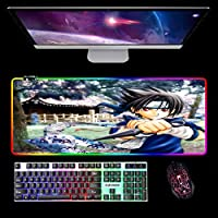 ゲーミングマウスパッド、XXLジャイアントLEDマウスパッドラージ、ステッチエッジ付き、コンピューターキーボードマット&マウスパッドデスクマットナルトアニメB800X300MM