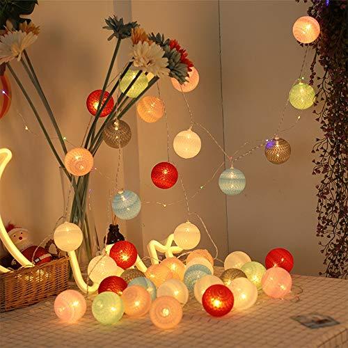 JAY-LONG Cadena De Luz De Bola De Algodón De 40 LED, Lámpara De Decoración De Festival De Navidad, Iluminación De Decoración De Paisaje De Control Remoto A Prueba De Agua, 6M, Luz Cálida