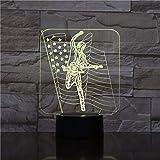 Música guitarrista bandera americana LED acrílico luz nocturna decoración color ilusión cambio decoración del hogar luces regalo