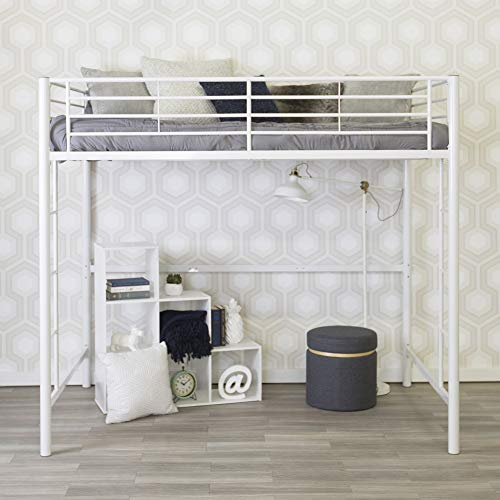 WE Furniture Modern Metal Pipe Full Double Size Loft Kids Bunk bed Bedroom Storage Guard Rail Ladder, White