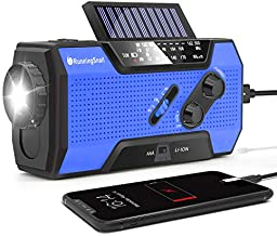 RunningSnail Solar Crank NOAA Weather Radio for Emergency with AM/FM, Flashlight, Reading Lamp and 2000mAh Power Bank (Blue)