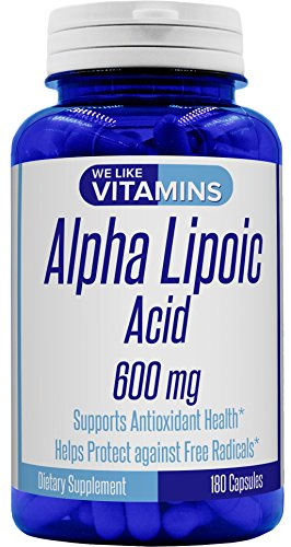 Alpha Lipoic Acid 600mg 180 Capsules - 6 Month Supply - Alpha Lipoic Acid Capsules Helps Support Antioxidant Health Along with Free Radical Protection