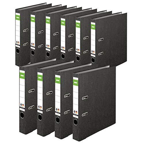 Original DINOR™ Ordner-Wolkenmarmor-Recycling - Made in Germany. 10er Pack 5 cm breit DIN A4 schwarz Aktenordner Briefordner Büroordner Pappordner Schlitzordner Grüner Balken Blauer Engel