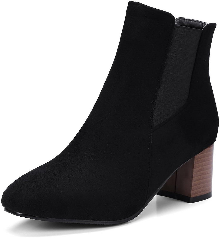 AandN Womens Boots Closed-Toe Zip Low-Heels Rubber Warm Lining Not_Water_Resistant Nubuck Slip-Resistant Bootie Dress Urethane Boots DKU01954