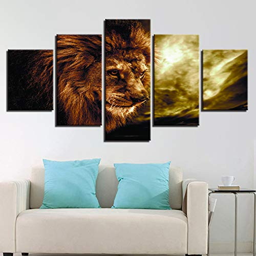 LPHMMD 5 canvas paintings Canvas Pictures 5 Pieces Lion Painting HD Prints Living Room Wall Art Animal Abstract Sunset Poster Home Decor-40x60cm 40x80cm 40x100cm