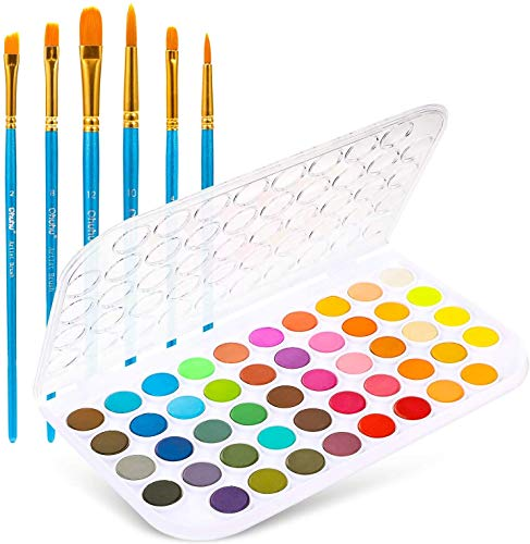 Watercolour Paint Set, Ohuhu 48 Colours Vibrant Water Colours Paint, Light and Portable Pan with 6 Paintbrushes, Professional Watercolor Paint for Adults Kids Beginners