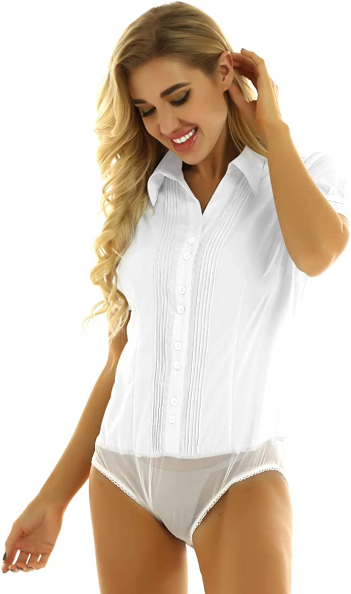 XUNZOO Women Casual Collared Button Down Shirt Short Sleeve Pleated Career Shirts Bodysuit Blouse