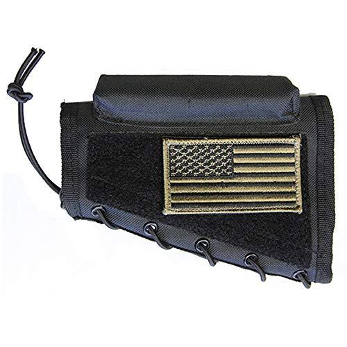 M1SURPLUS Black Color Cheek Rest Pad + USA Flag Patch Fits Springfield M1 M1A Norinco