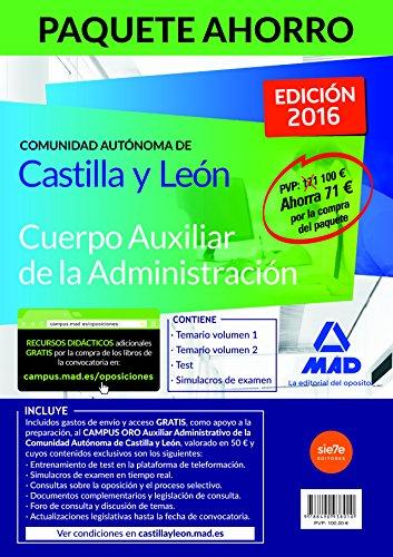 Paquete Ahorro Auxiliar Administrativo de la Comunidad Autónoma de Castilla y León. Ahorra 71 € (incluye Temario vol I y II, Test, Simulacros y acceso a Campus Oro)