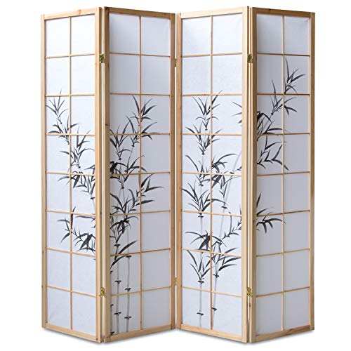 Homestyle4u 312, Paravent Raumteiler 4 teilig, Holz Natur, Reispapier Weiß Motiv Bambus, Höhe 175 cm