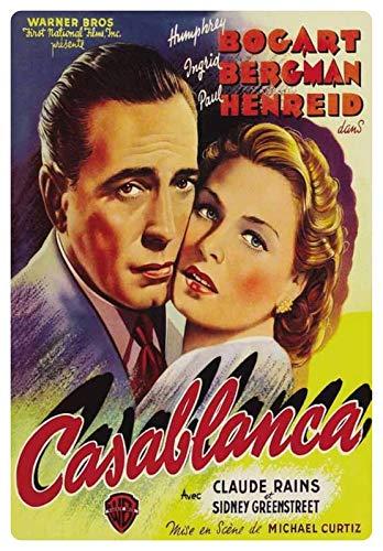 Metalen bord 20x30cm Casablanca reclame film affiche Bogart Bergmann schild