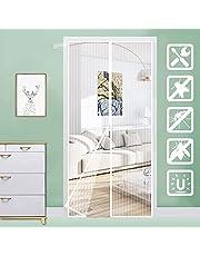 KSITH Vliegengaas voor deuren, muggennet, automatische magneetsluiting, voorkomt insecten, eenvoudige installatie, voor woonkamerdeuren, balkondeuren