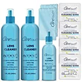 Care Touch Alcohol-Free Lens Cleaner Kit - (2) 8 oz Spray Bottles, (1) 2 oz Travel Spray Bottle, (6) Individually-Wrapped Wipes, (2) Microfiber Cloths | Safe for Coated Lenses, Eyeglasses, Screens