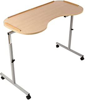 NRS Healthcare M99394 Adjustable Curved Over Bed/Chair Table with Lockable Castors