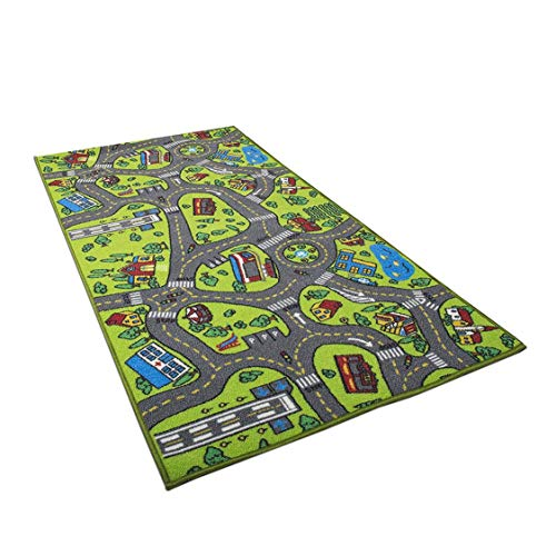 Dynamovolition Car Rug Kid for Toy Cars Playroom and Classroom Multi Color Activity Centerp Play Mat Safe and Fun Play Rug for Boys and Girls