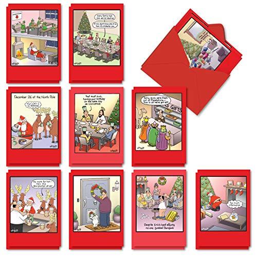 NobleWorks - 20 Funny Christmas Cards Assorted (10 Designs, 2 Each) - Boxed Adult Christmas Greetings, Bulk Holiday Notecard Humor - Tim Whyatt's Christmas Crack-Ups AC1250XSG-B2x10