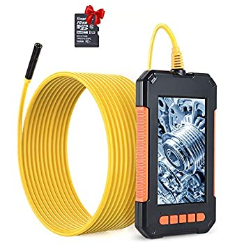 """RAGU Endoscope Camera 1080P HD Borescope 4.3"""" LCD Screen Inspection Camera IP67 Waterproof Industrial Endoscope with 8 Dimmable LEDs 16.4ft Semi-Rigid Cord"""