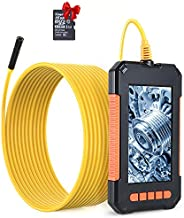 """RAGU Endoscope Camera, 1080P HD Borescope 4.3"""" LCD Screen Inspection Camera IP67 Waterproof Industrial Endoscope with 8 Dimmable LEDs 16.4ft Semi-Rigid Cord"""