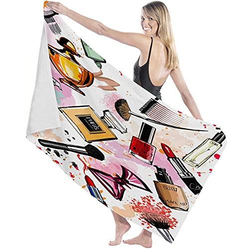 Toalla de Microfibra Secado rápido, Ligera, Absorbente, Suave y grante Yoga, Fitness, Playa, Gimnasio Perfume Lápiz Labial Arco Peine Femenino Pincel Rosa 130X80cm