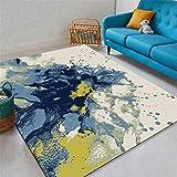 Kunsen alfombras Camas Dobles Alfombra de Sala de Estar Azul, impresión de Estilo de Tinta Beige y teñido Resistente al Desgaste alfombras de habitacion Grande 160X230CM 5ft 3' X7ft 6.6'