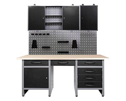 Ondis24 Werkstatteinrichtung Harry 160 cm, Werkbank, 2x Werkzeugschrank, Werkzeugwand Metall