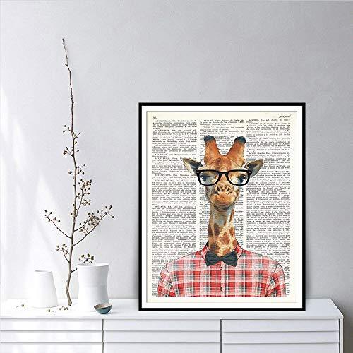 Giraffe Met Bril Woordenboek Art Posters En Prints Het Dragen Van Een Plaid Shirt Giraffe Aquarel Dier Canvas Schilderij ; 60x80cm geen frame