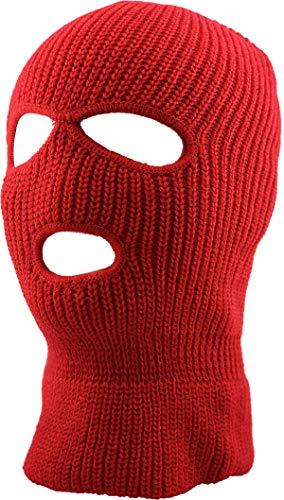 KBH-16 RED Three Hole Mask Winter Knit Ski Hat Ribbed Beanie Balaclava