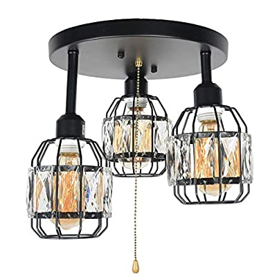 Baiwaiz Crystal Cage Semi Flush Mount Light, Black Metal Round Industrial Ceiling Lighting Modern Close to Ceiling Light Fixture 3 Lights Edison E26 108