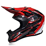 Casco da Motocross Uomo Nero e Rosso Casco Integrale MTB Enduro con Fodera Rimovibile, Casco Cross Adulto Professionale Casco Motociclista per Downhill Moto Offroad Scooter Sport,S