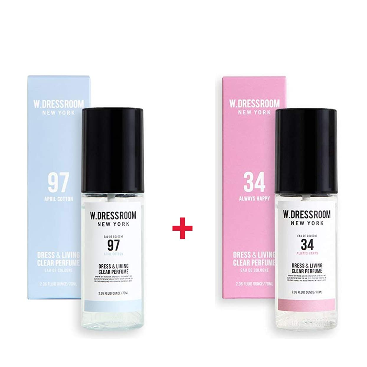 ステップところで芸術的W.DRESSROOM Dress & Living Clear Perfume 70ml (No 97 April Cotton)+(No 34 Always Happy)
