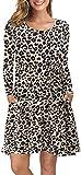 AUSELILY Vestido Holgado Informal de Manga Larga con Cuello Redondo y Bolsillos para Mujer Leopardo XL