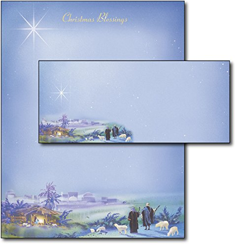 'Wondrous Light' Religious Christmas Paper with Envelopes - 40 Sets