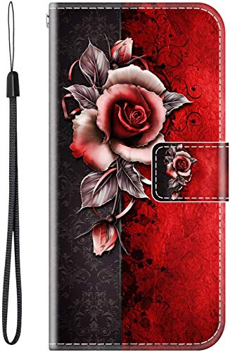 vingarshern Hülle für ZTE Nubia Z18 Handytasche Klappbares Magnetverschluss Lederhülle Flip Etui Standfunktion Schutzhülle ZTE Nubia Z18 Hülle Leder Brieftasche-(Rose) MEHRWEG