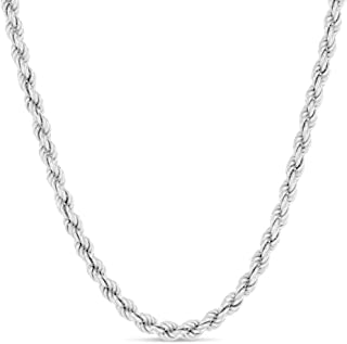 Sterling Silver Diamond-Cut Rope Chain Necklace 2MM, 2.5MM, 3MM- 925 Braided Twist Necklace, Sterling Silver Necklace, Italian Silver Rope Chain 14-30