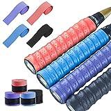 LATTCURE Bande per badminton Grip, nastro per il sudore in PU Racquet Grip antiscivolo per racchette Squash Tennis Badminton, 8 pezzi