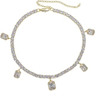 Butterfly Charm Cz Tennis Chain Choker Necklace Wedding Engagement Gift Sparking Bling Hip Hop Women Jewelry