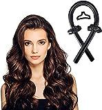 Cinta de pelo sin calor, sin calor, sin rizos, cinta de seda, para dormir, suave diadema ondulada, rizadores de pelo, herramientas de peinado para cabello largo y mediano (negro)