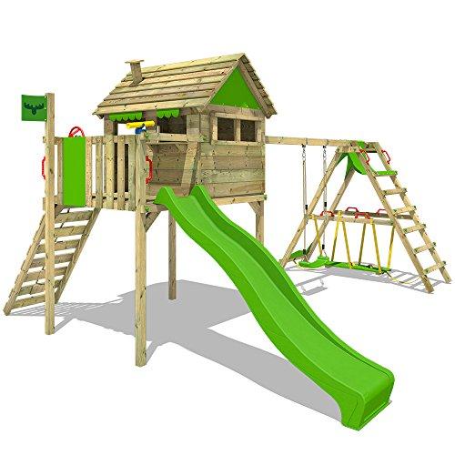 FATMOOSE Spielhaus auf Stelzen FunFactory Fit XXL Spielturm Klettergerüst Kletterturm mit Surfanbau, Veranda, Schaukel und Rutsche